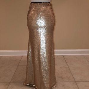 Lucy Paris Champagne Sequin High Waist Maxi Skirt